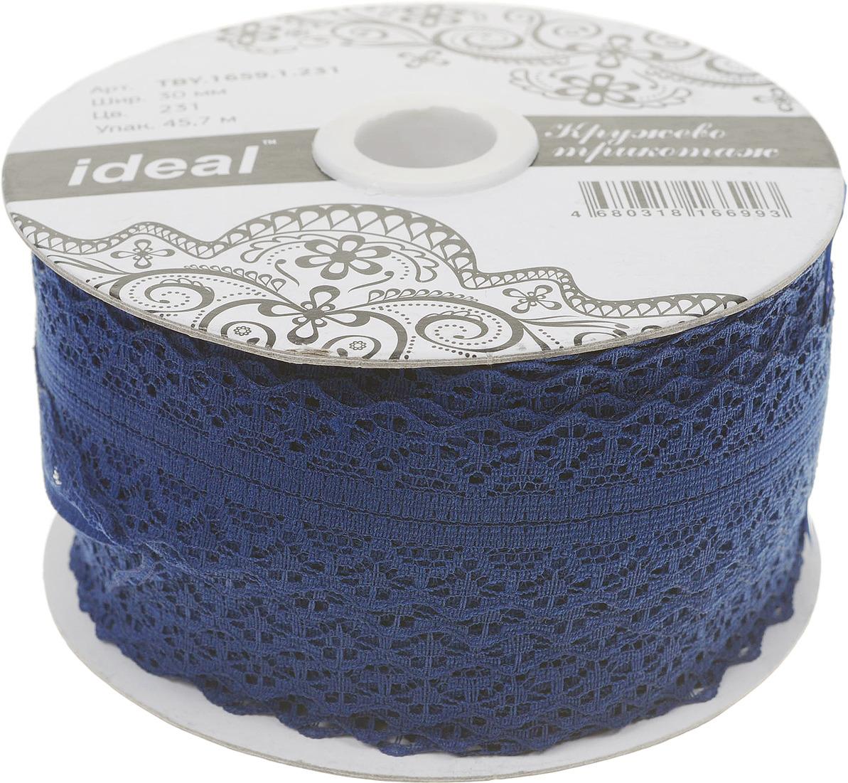 Фото - Тесьма IDEAL кружевная, темно-синий, 3 см, 45,7 м тесьма ideal кружевная персиковый 4 см 45 7 м