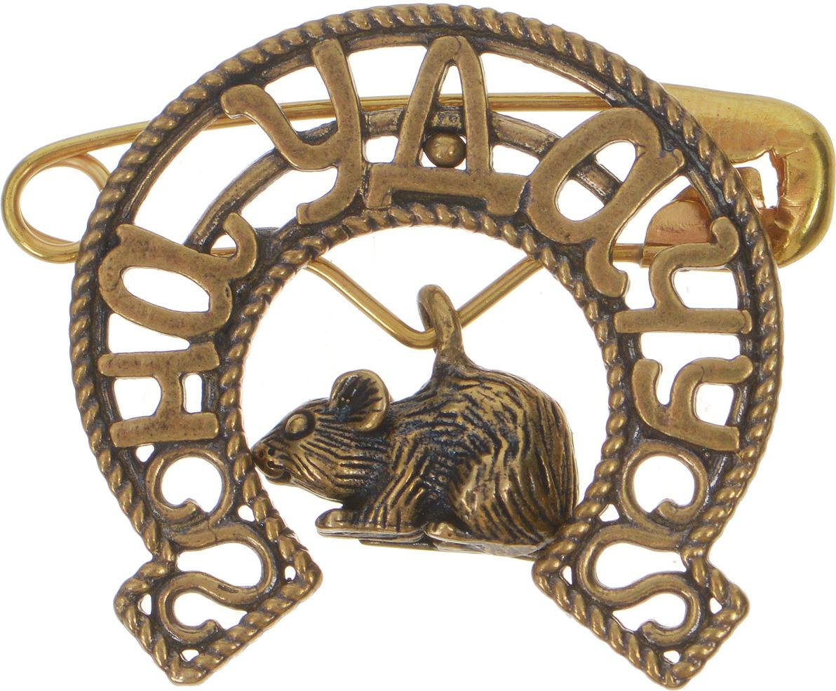 Булавочка на удачу Miland Мышонок, Т-6422, золотой, 3 см