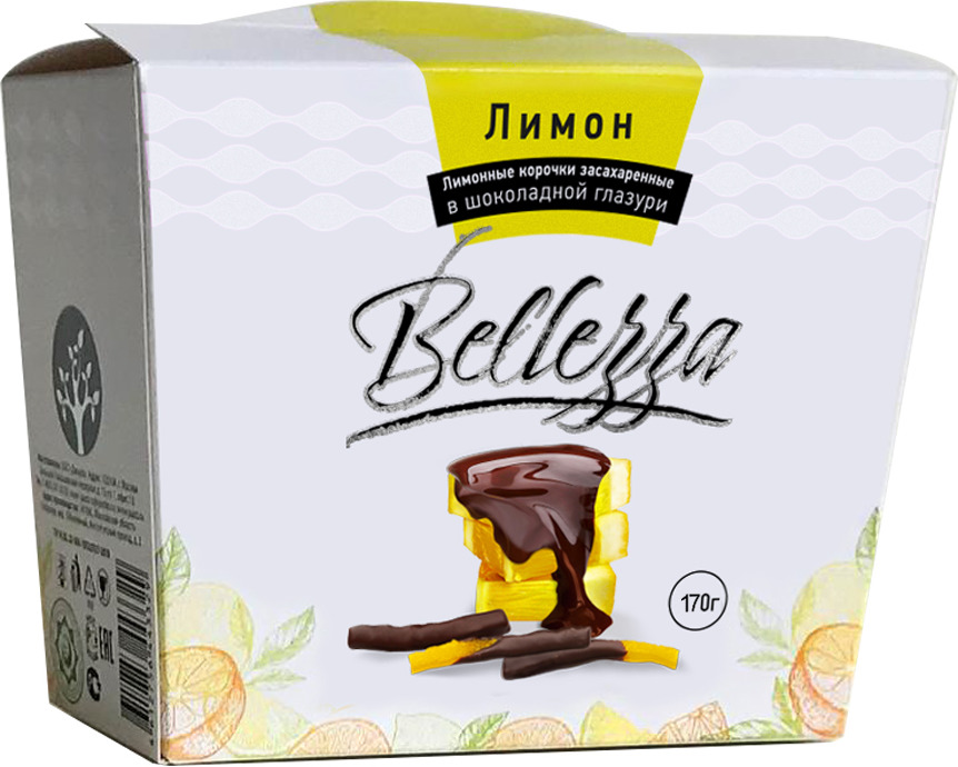 Конфеты Bellezza Лимонная корочка в шоколадной глазури, 170 г amado кофейные зерна в шоколадной глазури 25 г