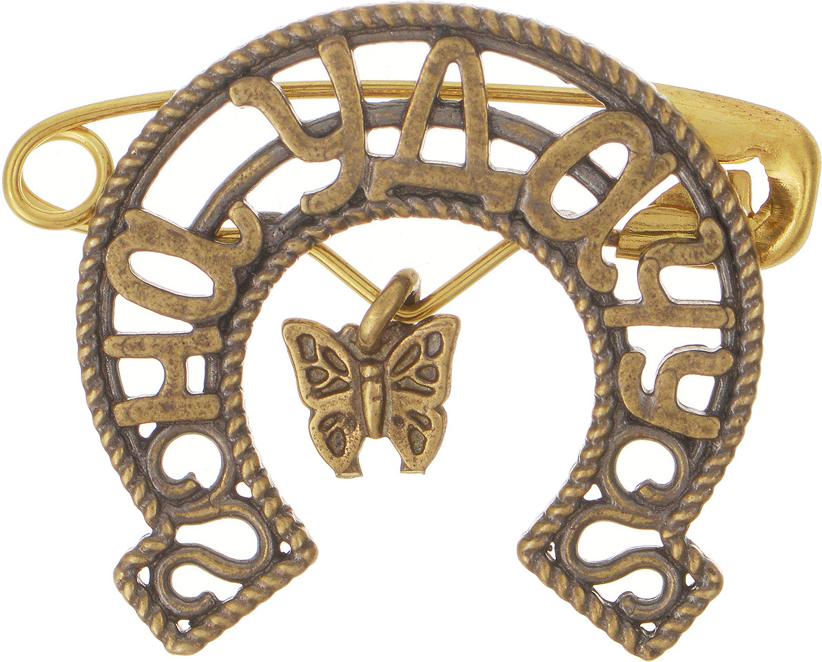 Булавочка на удачу Miland Бабочка, Т-6423, золотой, 3 см