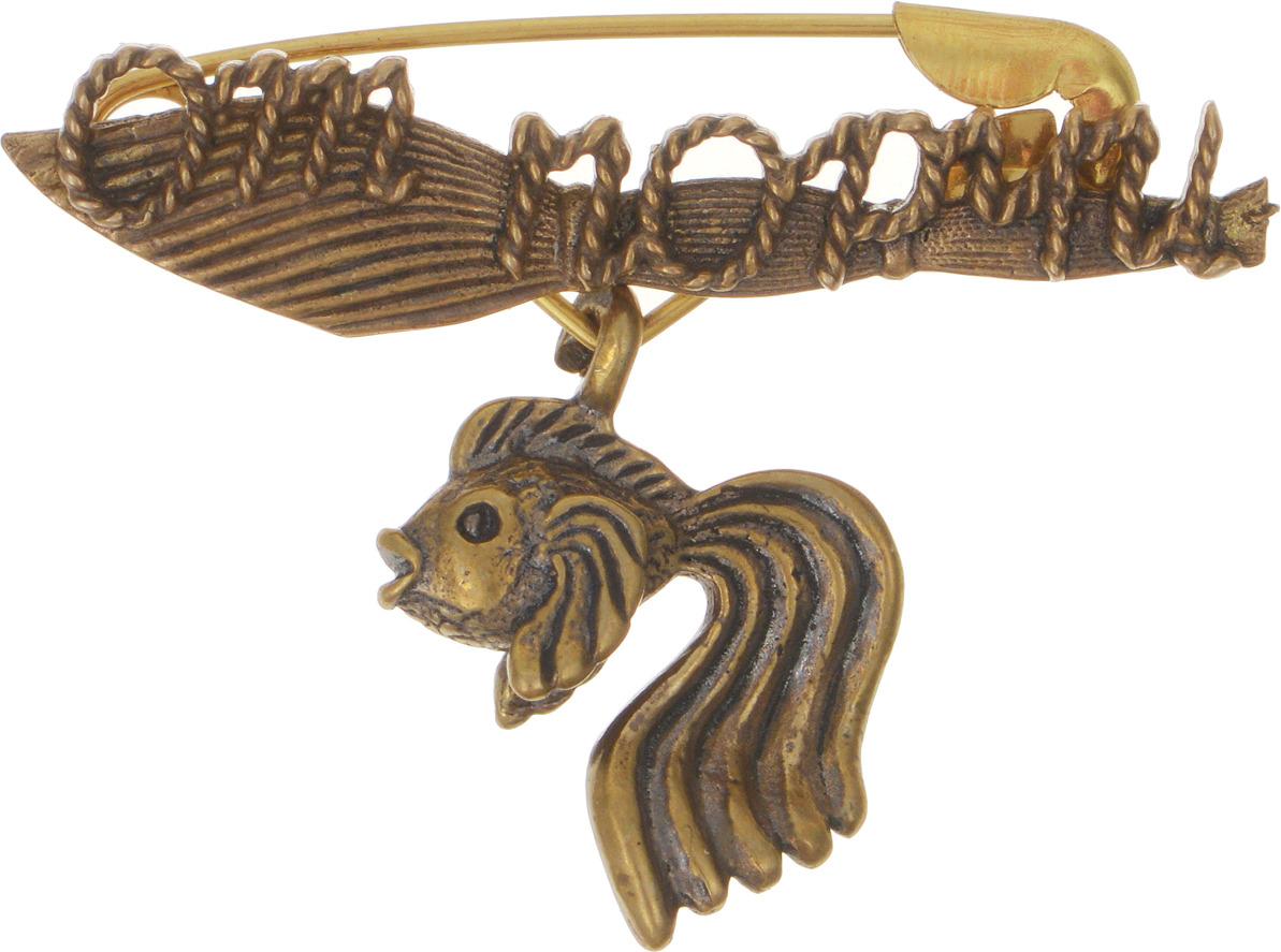 Булавочка от порчи Miland Золотая рыбка, Т-6409, золотой, 3 см