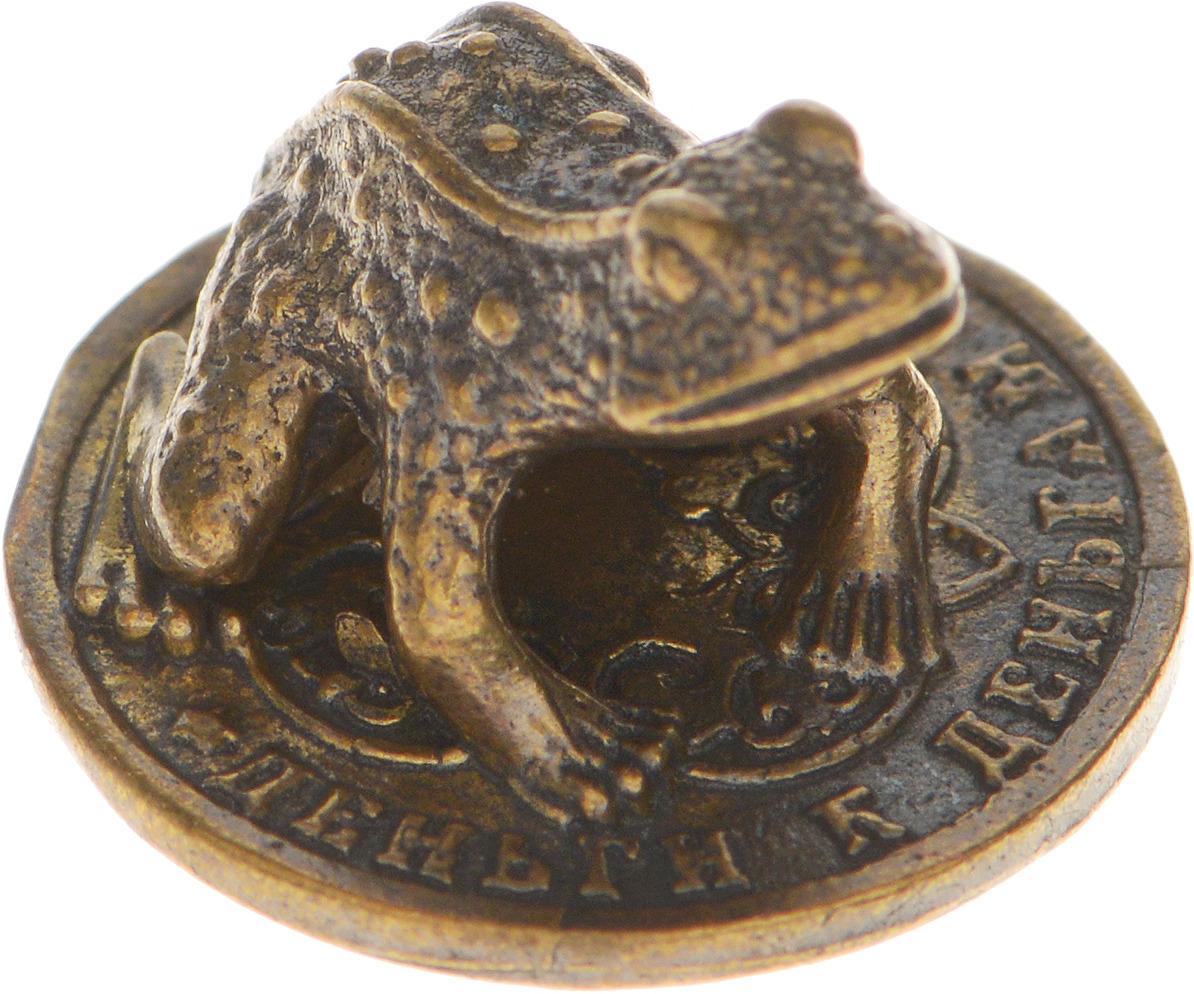 Денежный сувенир Miland Кошельковая жаба на монете, Т-3667, золотой сувенир мкт оберег для кошелька мышь на монете