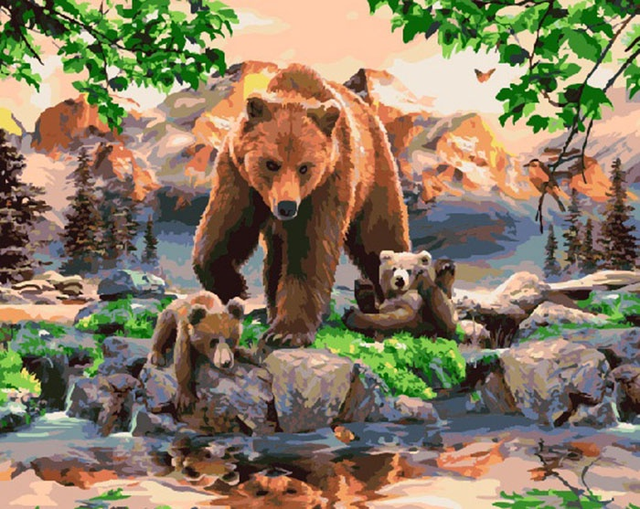 Картина по номерам (40х50) Медведица с медвежатами GX7053