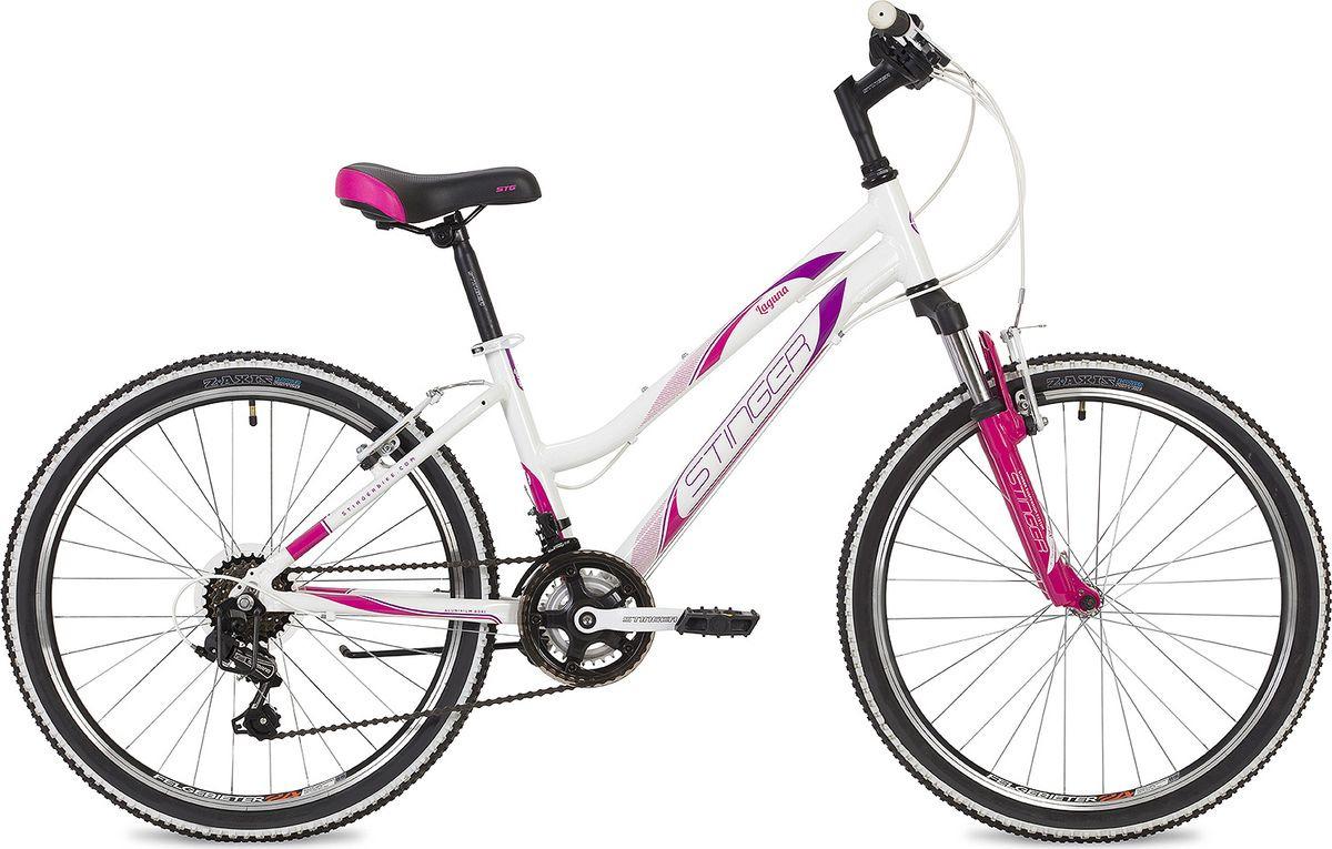 Велосипед горный Stinger Laguna, колесо 24, рама 14, 24AHV.LAGUNA.14WH9, белый