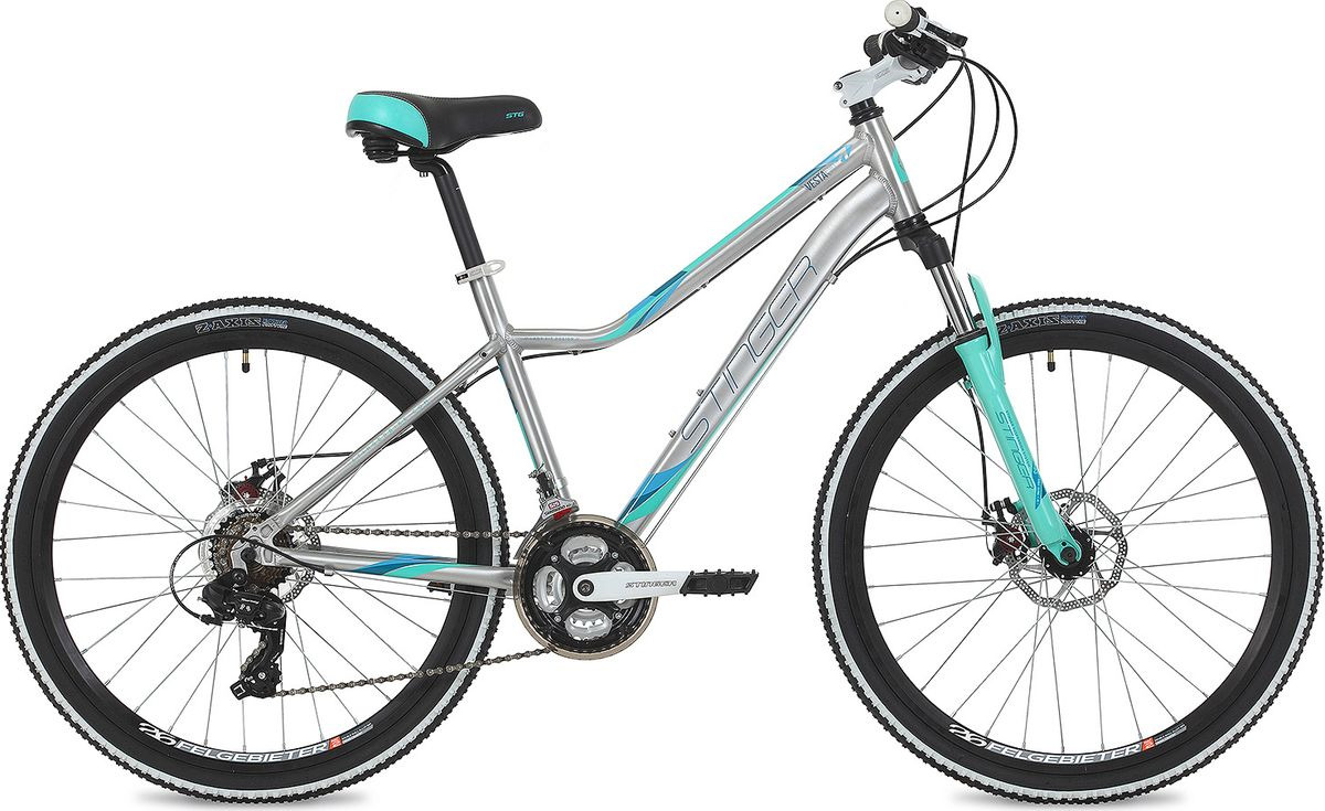 Велосипед горный Stinger Vesta Evo, колесо 26, рама 19, 26AHD.VESTAEVO.19SL9, серебристый велосипед stinger vesta evo 26 рама 15 сереброо