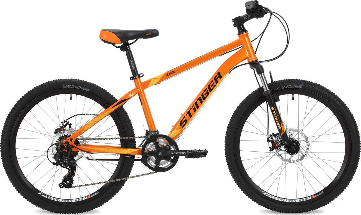 Велосипед горный Stinger Aragon, колесо 24, рама 14, 24SHD.ARAGON.14OR8, оранжевый велосипед stinger 26 aragon 18 белый 26 shd aragon 18 wh7