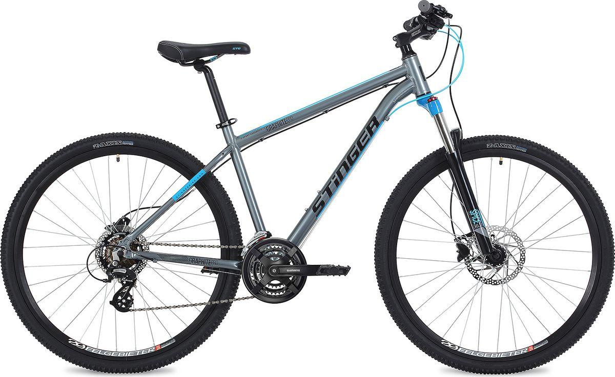 "Велосипед горный Stinger Graphite Pro, колесо 29"", рама 20"", 29AHD.GRAPHPRO.20GR9, серый"