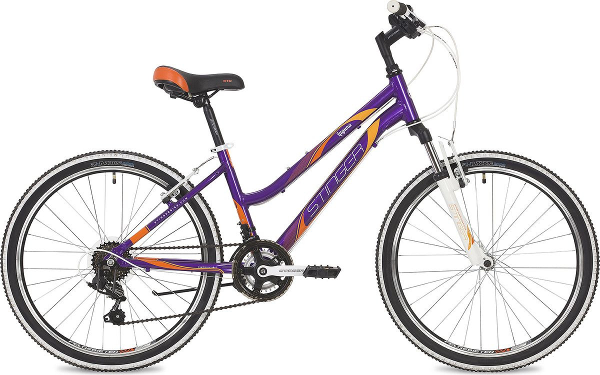 Велосипед горный Stinger Laguna, колесо 24, рама 14, 24AHV.LAGUNA.14VT9, фиолетовый