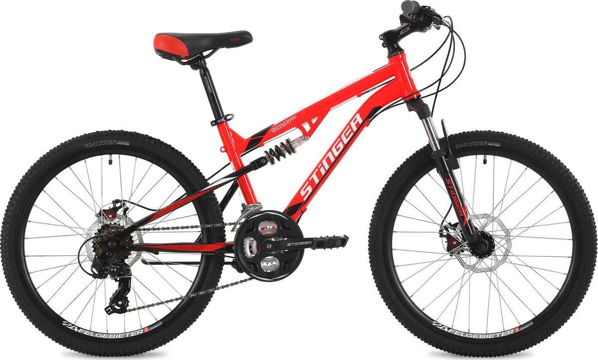 Велосипед горный Stinger Discovery D, колесо 24, рама 14, 24SFD.DISCOD.14RD8, красный цена
