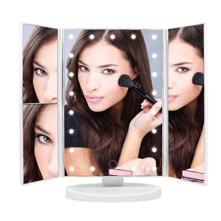 Зеркало для макияжа настольное с LED подсветкой и 3-х кратным увеличением белое