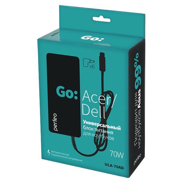 Зарядное устройство для ноутбука Perfeo для ноутбуков ACER, DELL 70W ULA-70AD, черный адаптер питания 5bites pa70ad 04 70w для ноутбуков acer dell m5 m7 m9 m15 m21 m23
