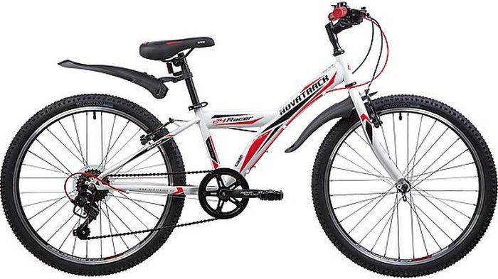 Велосипед горный Novatrack Racer, колесо 24, рама 12, 24SH6V.RACER.12WT9, белый велосипед novatrack 16 зебра бордово белый 165 zebra clr6