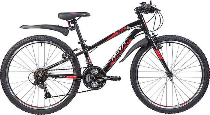 Велосипед горный Novatrack Prime, колесо 24, рама 11, 24AHV.PRIME.11BK9, черный велосипед горный schwinn mesa 1 цвет черный колесо 27 5 рама l