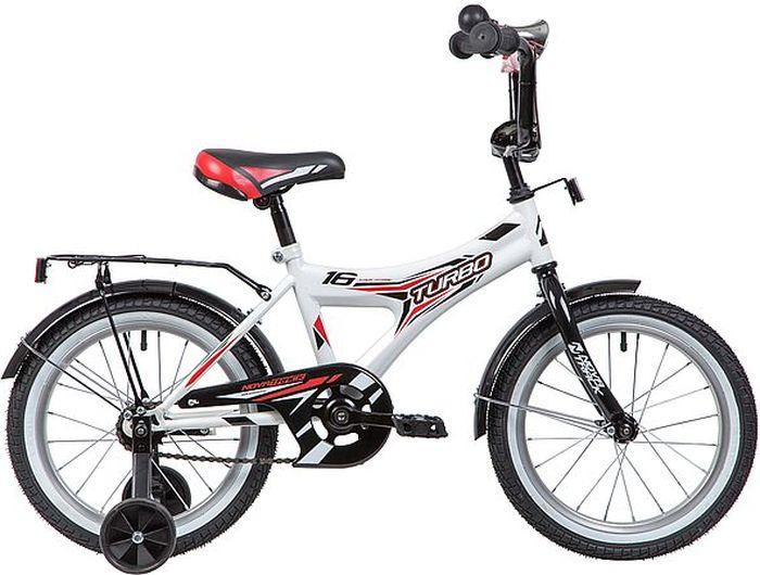 Велосипед детский Novatrack Turbo, колесо 16, рама 10,5, 167TURBO.WT9, белый