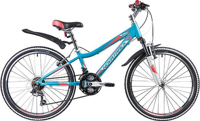 Велосипед горный Novatrack Novara, колесо 24, рама 11, 24AHV.NOVARA.11BL9, бирюзовый novatrack novatrack велосипед action 24 рама 12 синий