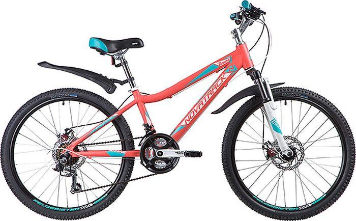 Велосипед горный Novatrack Novara, колесо 24, рама 13, 24AHD.NOVARA.13CRL9, коралловый цена