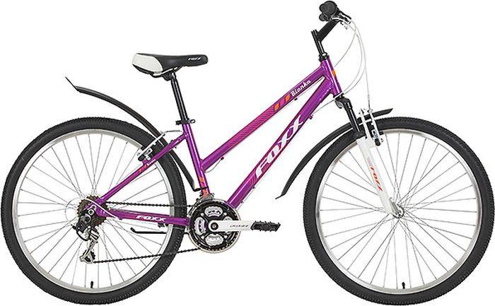 Велосипед горный Foxx Bianka, колесо 26, рама 15, 26AHV.BIANK.15VT9, фиолетовый велосипед горный foxx mango колесо 24 рама 12 24shv mango 12or9 оранжевый
