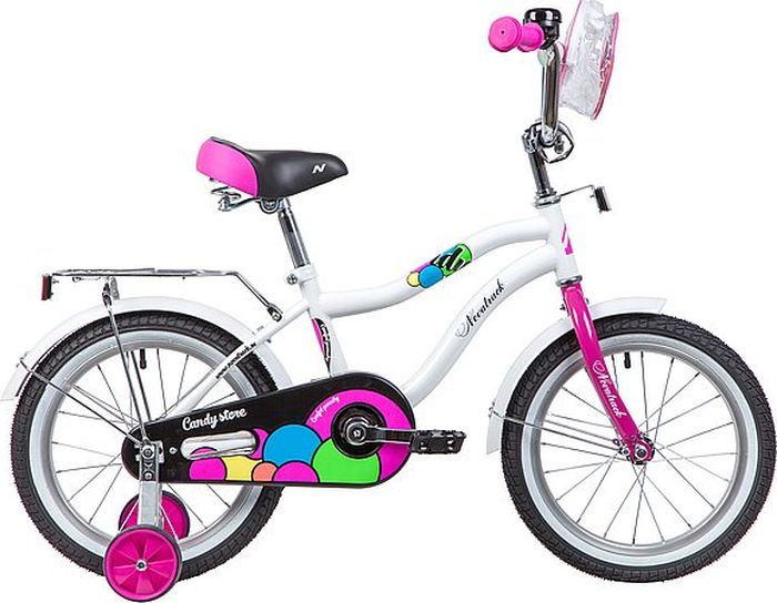 """Велосипед детский Novatrack Candy, колесо 16"""", рама 10,5"""", 165CANDY.WT9, белый"""