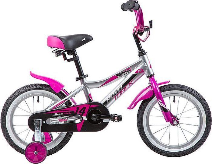 Велосипед детский Novatrack Novara, колесо 14, рама 9, 145ANOVARA.CP9, серебристый велосипед для малышей 3 5 лет 14 500 робот