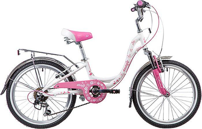 Велосипед детский Novatrack Butterfly, колесо 20, рама 10, 20SH6V.BUTTERFLY.PN9, белый, розовый велосипед детский novatrack fs 30 цвет светло сиреневый белый черный 20