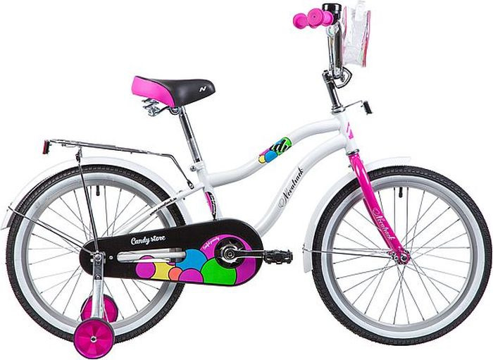 Велосипед детский Novatrack Candy, колесо 20, рама 12, 205CANDY.WT9, белый