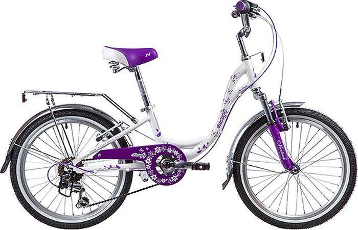 Велосипед детский Novatrack Butterfly, колесо 20, рама 10, 20SH6V.BUTTERFLY.VL9, белый велосипед детский novatrack fs 30 цвет бордовый 20