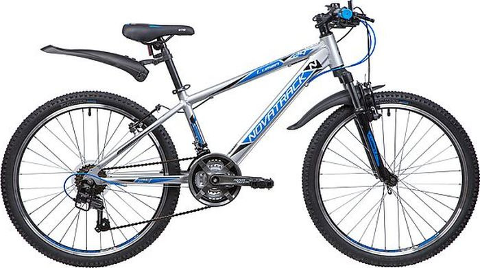 Велосипед горный Novatrack Lumen, колесо 24, рама 13, 24AHV.LUMEN.13SL9, серебристый велосипед novatrack lumen синий 24 рама 13