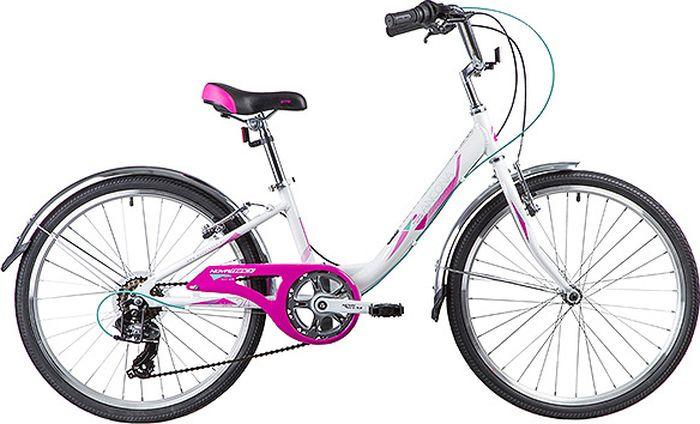 Велосипед горный Novatrack Ancona, колесо 24, рама 12, 24AH7V.ANCONA.12WT9, белый novatrack novatrack велосипед ancona 24 shimano nexus рама 10 3 скорости зеленый