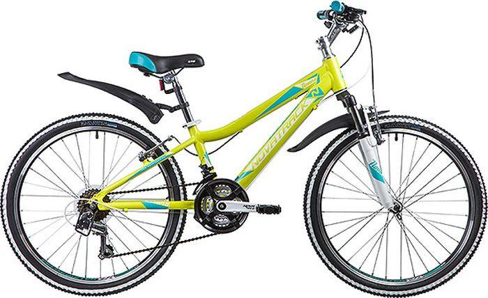 Велосипед горный Novatrack Novara, колесо 24, рама 11, 24AHV.NOVARA.11YL9, светло-зеленый велосипед novatrack 16 зебра бордово белый 165 zebra clr6