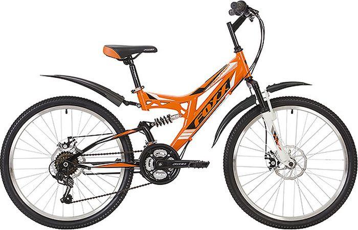Велосипед горный Foxx Freelander, колесо 24, рама 14, 24SFD.FREELD.14OR9, оранжевый велосипед горный foxx mango колесо 24 рама 12 24shv mango 12or9 оранжевый