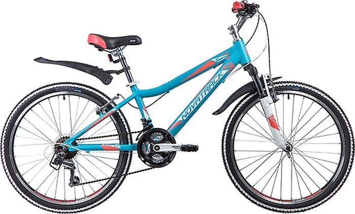 Велосипед горный Novatrack Novara, колесо 24, рама 13, 24AHV.NOVARA.13BL9, бирюзовый велосипед novatrack lumen синий 24 рама 13