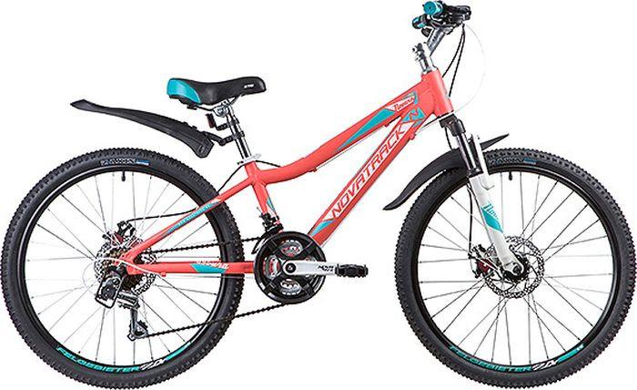 Велосипед горный Novatrack Novara, колесо 24, рама 11, 24AHD.NOVARA.11CRL9, коралловый цена