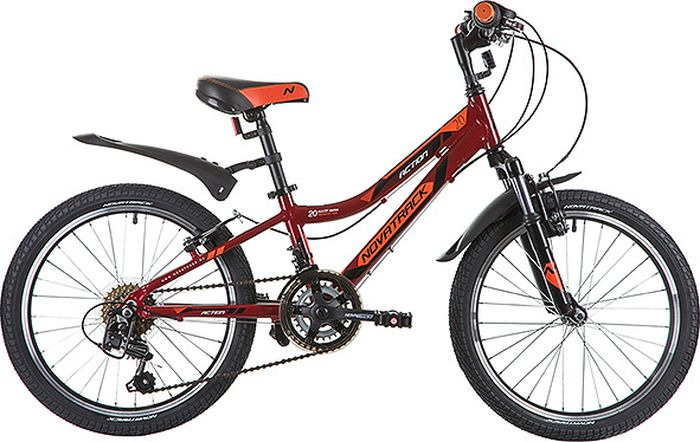 Велосипед детский Novatrack Action, колесо 20, рама 10, 20AH12V.ACTION.RD9, красный велосипед детский novatrack action цвет черный 24