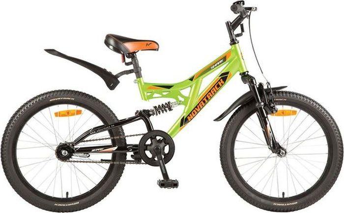 Велосипед детский Novatrack Shark, колесо 20, рама 12, 20SS1V.SHARK.GN7, зеленый новый 3 в 1 велосипед сигнал велосипед тормозная лампа рог 7 л включите задний фонарь