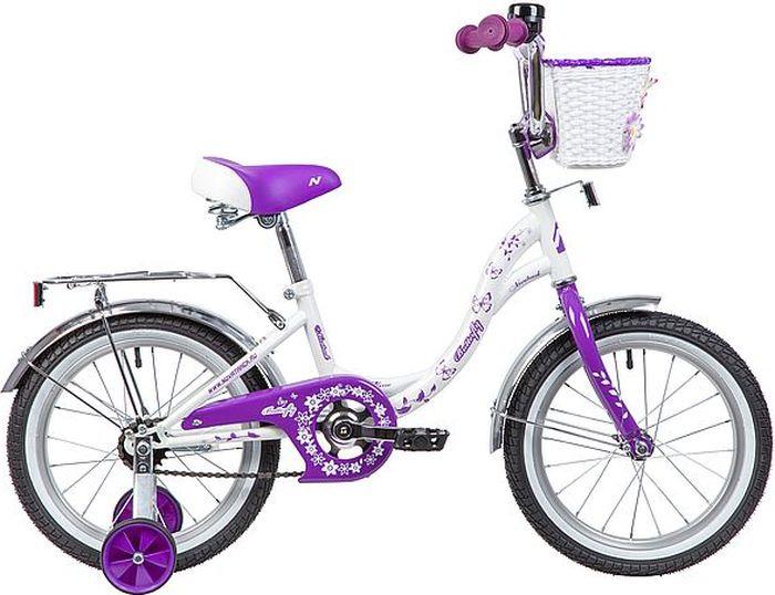 Велосипед детский Novatrack Butterfly, колесо 16, рама 10,5, 167BUTTERFLY.WVL9, белый, розовый