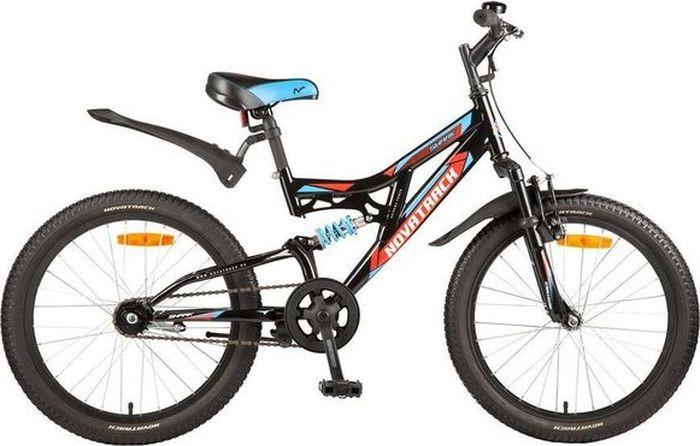 Велосипед детский Novatrack Shark, колесо 20, рама 12, 20SS1V.SHARK.BK7, черный новый 3 в 1 велосипед сигнал велосипед тормозная лампа рог 7 л включите задний фонарь