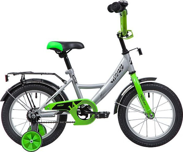Велосипед детский Novatrack Vector, колесо 14, рама 9, 143VECTOR.SL9, серебристый