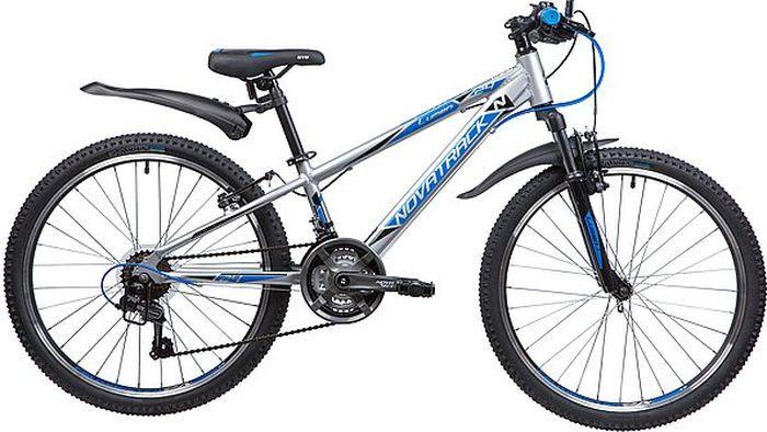 Велосипед горный Novatrack Lumen, колесо 24, рама 11, 24AHV.LUMEN.11SL9, серебристый велосипед novatrack lumen синий 24 рама 13