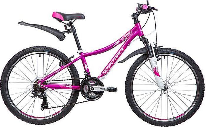 Велосипед горный Novatrack Katrina, колесо 24, рама 12, 24AHV.KATRINA.12VL9, фиолетовый novatrack novatrack велосипед katrina 24 рама 10 21 скорость белый