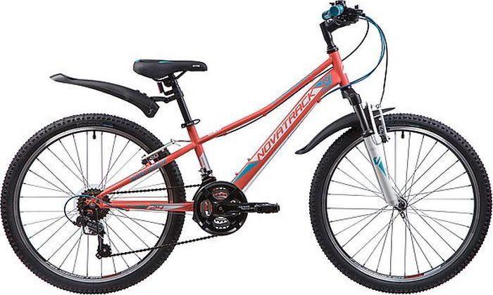 Велосипед горный Novatrack Valiant, колесо 24, рама 12, 24SH18V.VALIANT.12CRL9, коралловый novatrack novatrack велосипед action 24 рама 12 синий