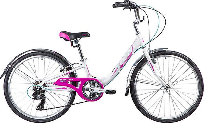 Велосипед горный Novatrack Ancona, колесо 24, рама 10, 24AH7V.ANCONA.10WT9, белый novatrack novatrack велосипед ancona 24 shimano nexus рама 10 3 скорости зеленый