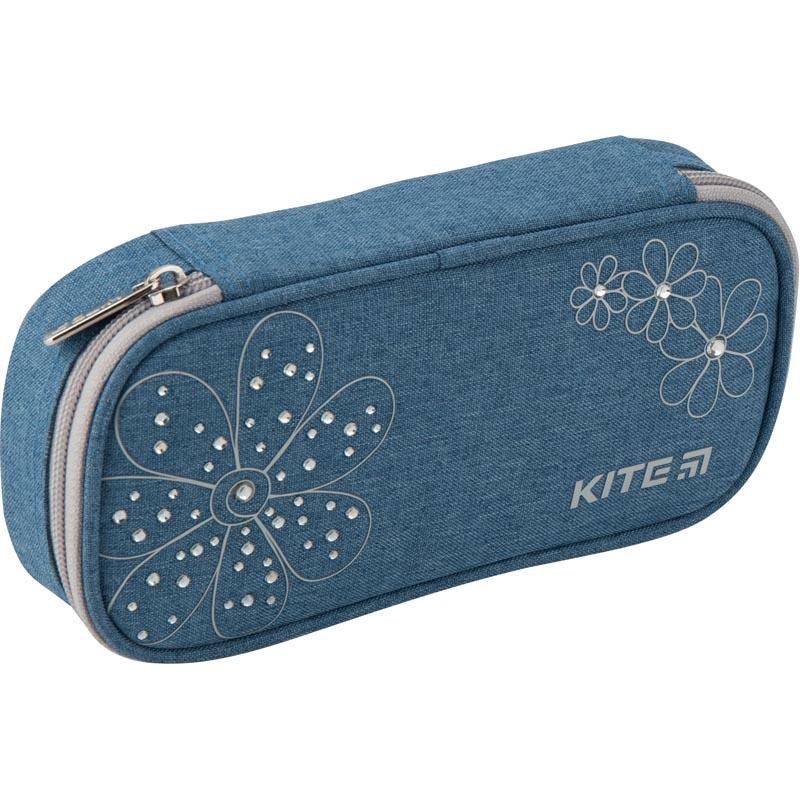 Пенал Kite Education Flowery синий 21x8,5x5
