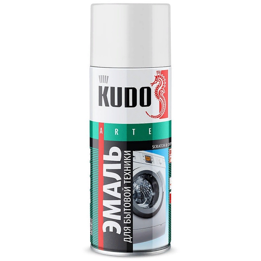 Эмаль KUDO для бытовой техники, аэрозоль, 520 мл, белый эмаль original cramer для сантехники и бытовой техники цвет star white 005 белый