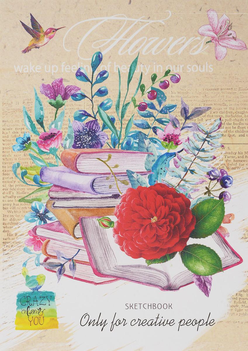 Скетчбук Miland Книги и цветы, формат A5, 48 листов
