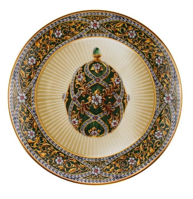 Декоративная тарелка Franklin Mint Сад камней, зеленый, золотой, белый, бордовый, бежевый, розовый ювелирные изделия фаберже фото