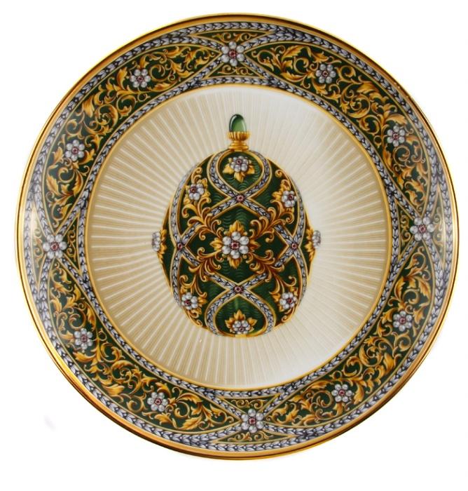 Декоративная тарелка Franklin Mint Сад камней, зеленый, золотой, бежевый, белый, розовый, бордовый ювелирные изделия фаберже фото