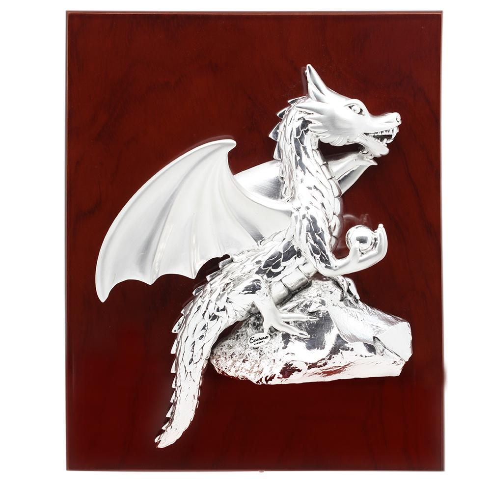 Декоративное панно Exetera argenti Панно дракон, 46-360744, серебристый, коричневый цена