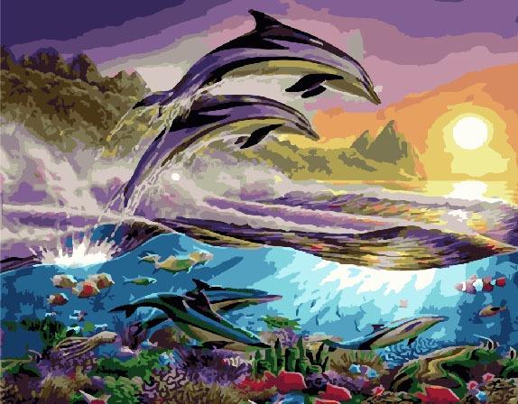 Картина по номерам ВанГогВоМне Дельфины раскраска по номерам радужные дельфины