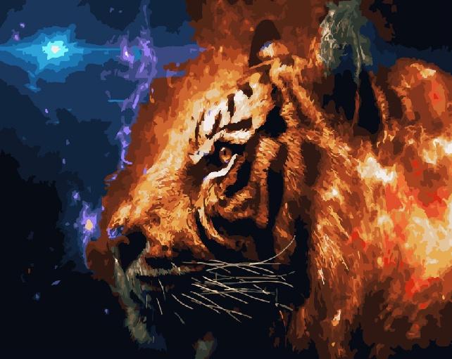 Картина по номерам ВанГогВоМне Фэнтези с тигром