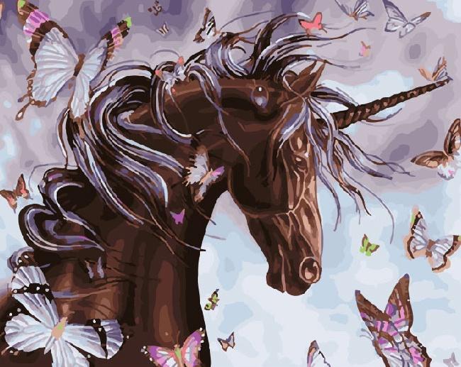 Картина по номерам ВанГогВоМне Единорог с бабочками molly раскраска по номерам динозаврик с бабочками
